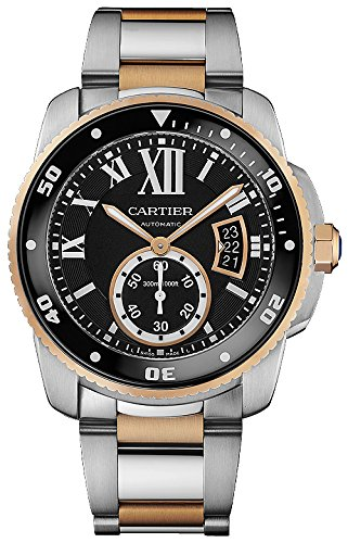 cartier calibre black dial steel and rose gold mens watch w7100054 gold mens watch w7100054 51ovpwzfwil